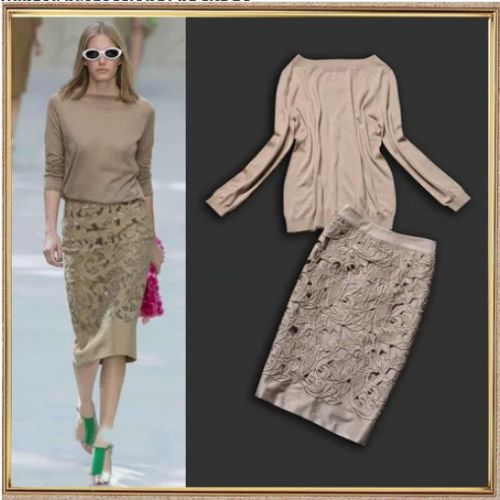 Hollow Out Embroidered Skirt Set