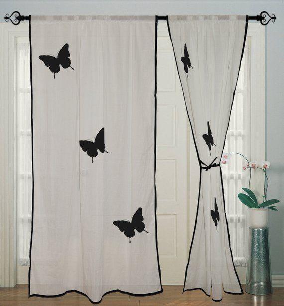 White Curtain Rod Pocket Curtain Hand Block Butterfly Curtain