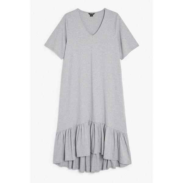 Monki Sophie dress ($34) ❤ liked on Polyvore featuring dresses, thunder cloud melange, frill dress, oversized tshirt dress, t shirt dress, tee shirt dress and tee dress