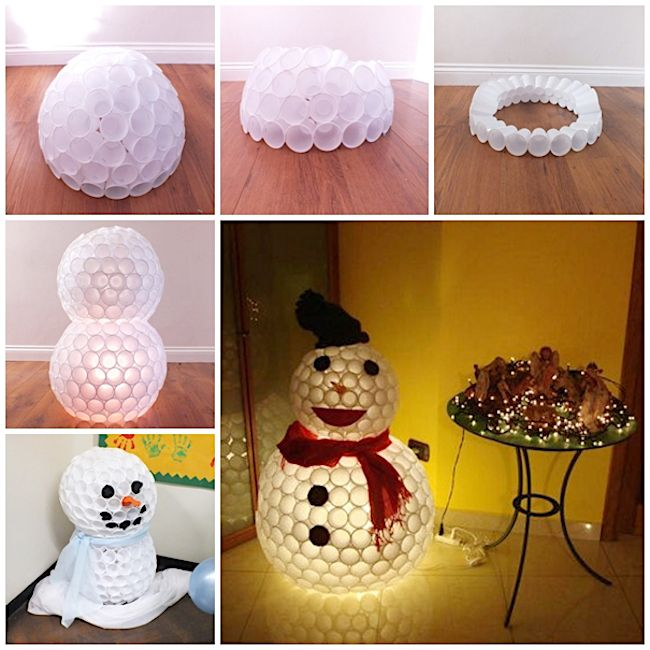 Plastic Cup Snowman - The 11 Best Creative Holiday DIY Decor