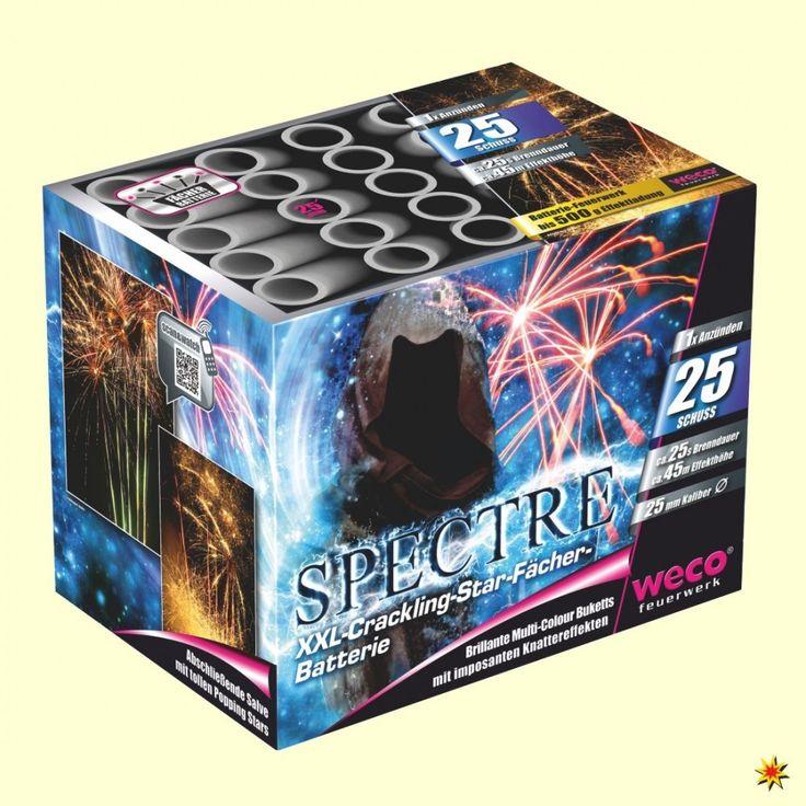 Eine XXL-#Feuerwerk Batterie von Weco: Spectre Die Batterie hat eine Dauer  von 25 Sekunden und 25 Effektschüsse. #Silvester