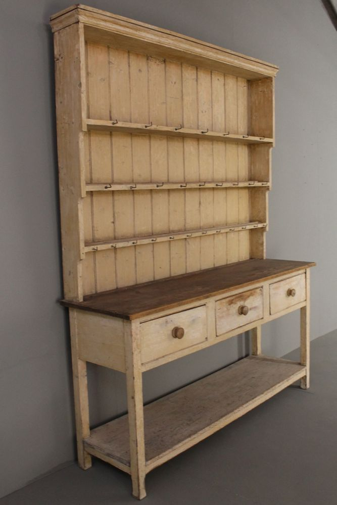 Original Painted Pine Early 19th Century Potboard Dresser