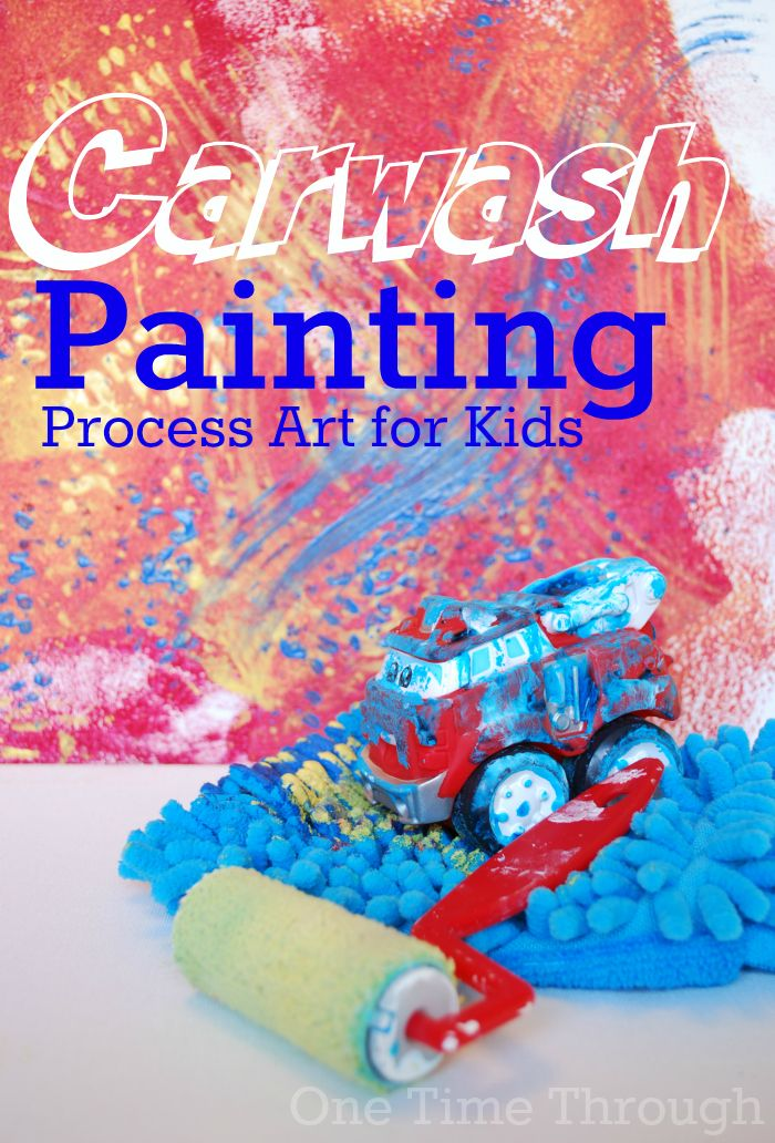 A fun process art project using cars, a car wash idea, and rollers and car wash mitts! {One Time Through} #painting #kids