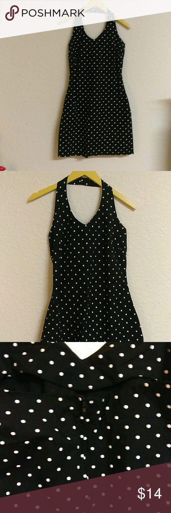 Women's a fortiori mini halter dress Mini halter top zip up polka dot dress size Medium. 97% Cotton. 3% spandex. Form fitting A Fortiori  Dresses Mini