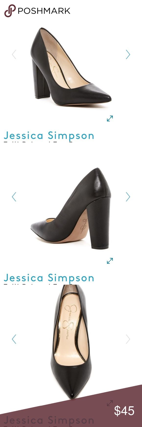 Jessica Simpson tolli black leather block heels Pointed toe heel. Worn once. Orig owner bought from Nord rack Jessica Simpson Shoes Heels