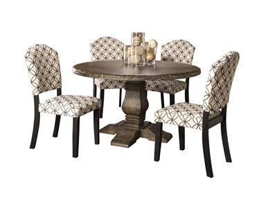 Shop+for+Hillsdale+Furniture+Lorient+5-Piece+Round+Dining+Set+With+Parsons+Chairs,+5676DTRDSP5,+and+other+Dining+Room+Sets+at+Union+Furniture+in+Union,Missouri.+Modern+with+natural,+weathered+detailing,+the+Lorient+Round+Dining+Table+celebrates+the+style+of+the+elements.+The+Lorient+Round+Table+has+a+wood+finish+in+a+beautiful,+washed+charcoal+gray,+though+its+highlight+is+probably+its+distressed+detailing+and+sandblasted+edges+which+give+it+an+authentic,+almost+hand-hewn+look.