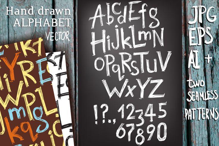 Vector hand drawn latin alphabet | Design Bundles