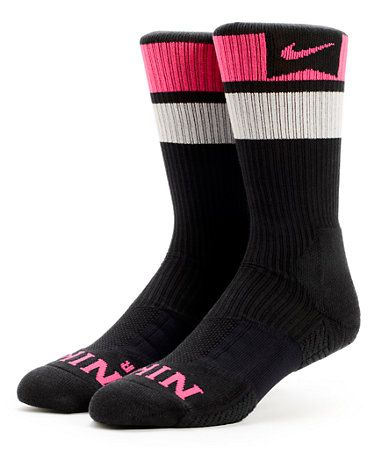 Nike SB Elite Dri-Fit Black & Pink Foil Striped Crew Socks at Zumiez : PDP