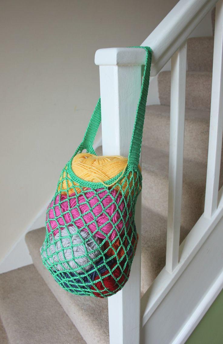 Crochet mesh bag. Easy, one skein pattern.
