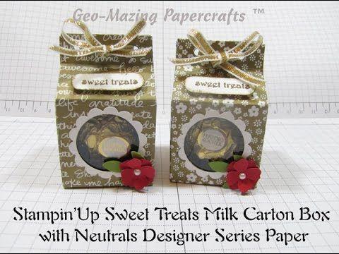 Stampin'Up Sweet Treats Milk Carton Box - YouTube