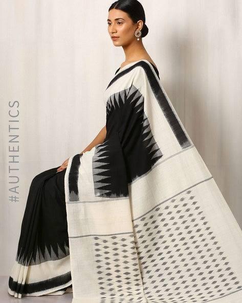 ,black ,white  ,exquisite ,fashion ,cotton ,5.5m   ,online_store ,AJIO  https://www.ajio.com/indie-picks-handwoven-pochampally-ikat-cotton-saree/p/460025491_white