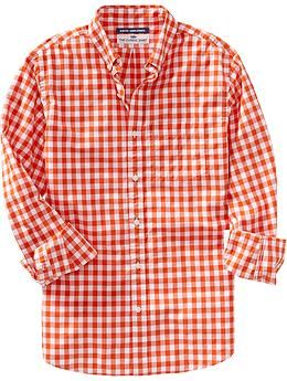 Men's Everyday Classic Slim-Fit Shirts - Orange Gingham