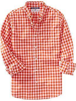 Men's Everyday Classic Slim-Fit Shirts - Orange Gingham