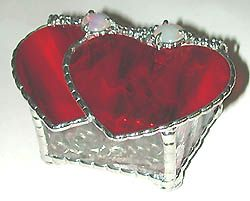 "Red Stained Glass Valentine Jewelry Box with Glass Nuggets - 3"" x 5"" - $26.95  - Handcrafted Stained Glass Heart Design  * More at www.AccentOnGlass.com"