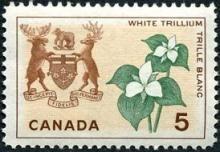 Canada Stamp -    (1964) - Coat of Arms and Provincial flower - Ontario:   White Trillium