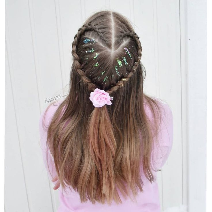 Braids & Hair by @terttiina Instagram: Heart shaped dutch braid half updo with some glitter and flower!