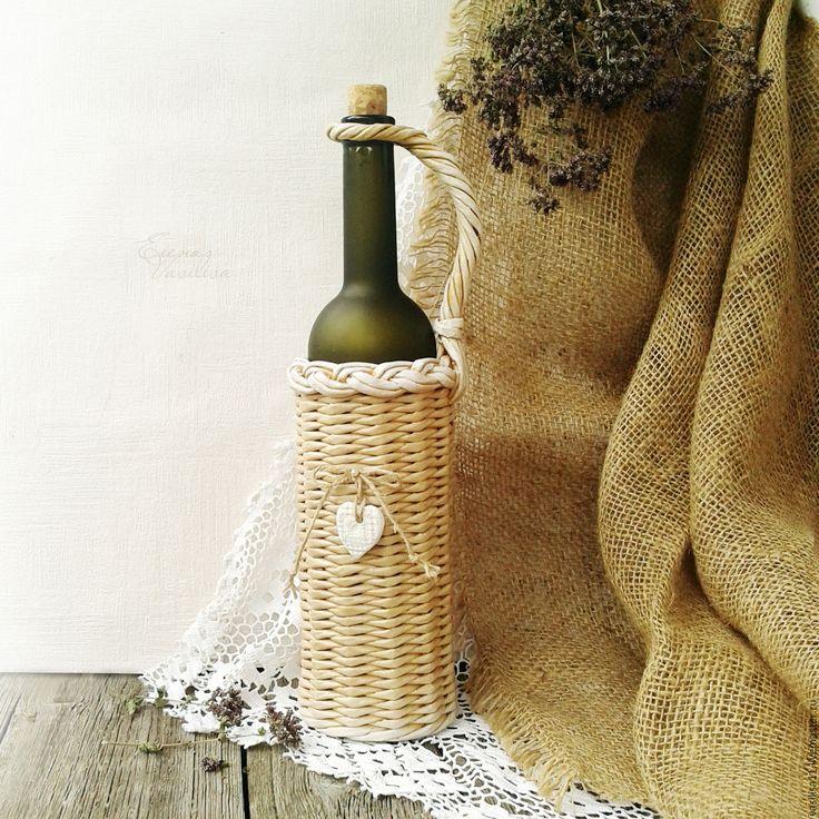Купить Бутылка в оплетке, оплетенная бутыль - бутылка в оплетке, оплетенная бутыль, бутылочка декорированная