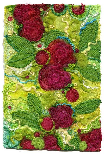 """Textile artRaspberry Dessert (Small) Fabric collage, appliqué, free-motion machine stitching, couching, French knots and hand stitching. 3"""" x 4 1/2"""""""