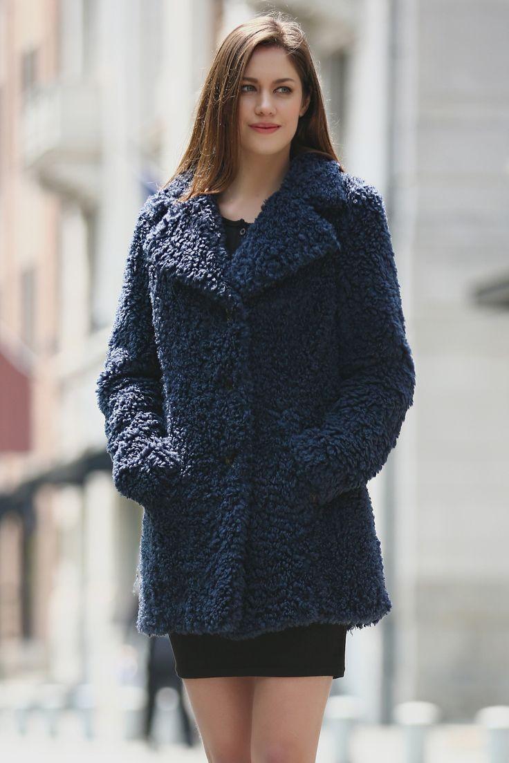 BLUE LIGHTWEIGHT JACKET SHAGGY FAUX FUR COAT VELVETY SOFT .