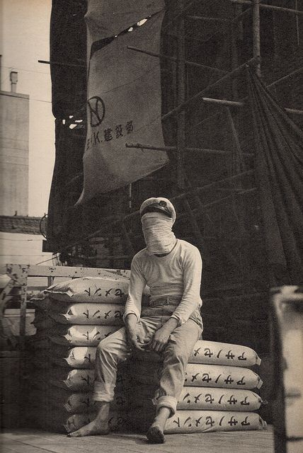 "(Faceless) Japanese sailor, 1967 || From an article on modern stress in ""Sun"" magazine"