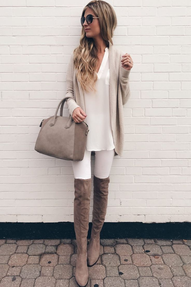 nordstrom-anniversary-sale-cardigan-barefoot-dreams-circle-cardigan-with-white-skinny-jeans-and-over-the-knee-boots-on-pinterestingplans