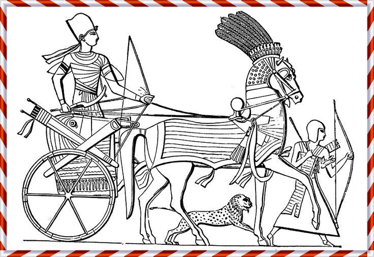 En egyptisk stridsvagn med soldat bakpå. Dessa ekipage ville de egyptiska kungarna skydda genom att förbjuda sitt folk från att använda järn alltför lättvindigt. Att se historien som utvecklingslinje där ständigt nya prylar gör de gamla värdelösa så ser vår världsbild ut. Arkeologi, där delar man in tidsåldrar efter nya metaller man hittat vid utgrävningar; stenålder, bronsålder & järnålder. De allra flesta redskapen tillverkades i trä, ända fram till industriella genombrottet under…
