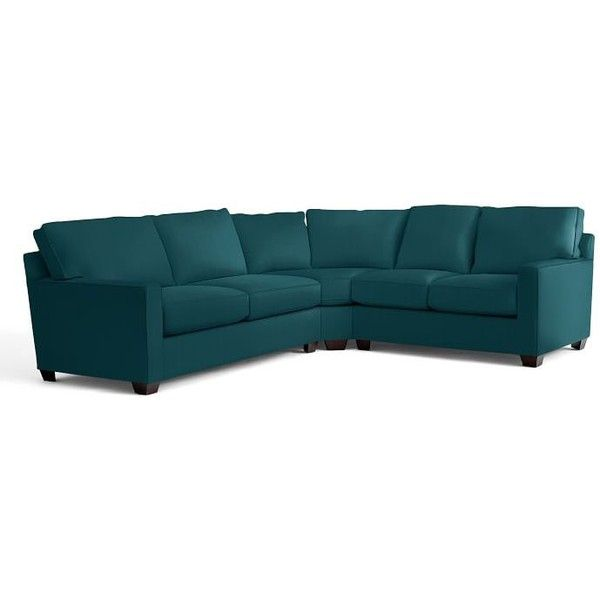 Pottery Barn Buchanan Square Arm Upholstered 3-Piece L-Shaped Corner... (424140 RSD) ❤ liked on Polyvore featuring home, furniture, sofas, bali, pottery barn, upholstered sofa, upholstery couch, pottery barn couches and pottery barn love seat