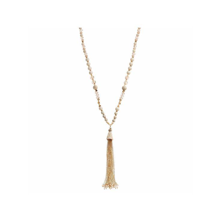 Brown Bead Long Tassel Y Necklace, Women's, Beige Oth
