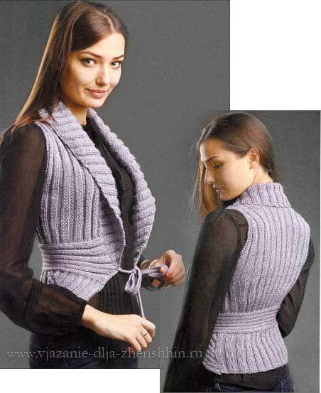 Серый вязаный жилет спицами