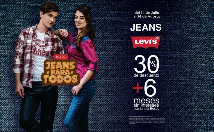 ¡Tu segunda #piel la encuentras con nosotros!  #Jeans Levi´s con 30% de descuento + 6 meses sin intereses con tu tarjeta Bosco.