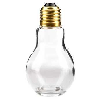 "4 1/4"" Glass Light Bulb Jar with Gold Lid"
