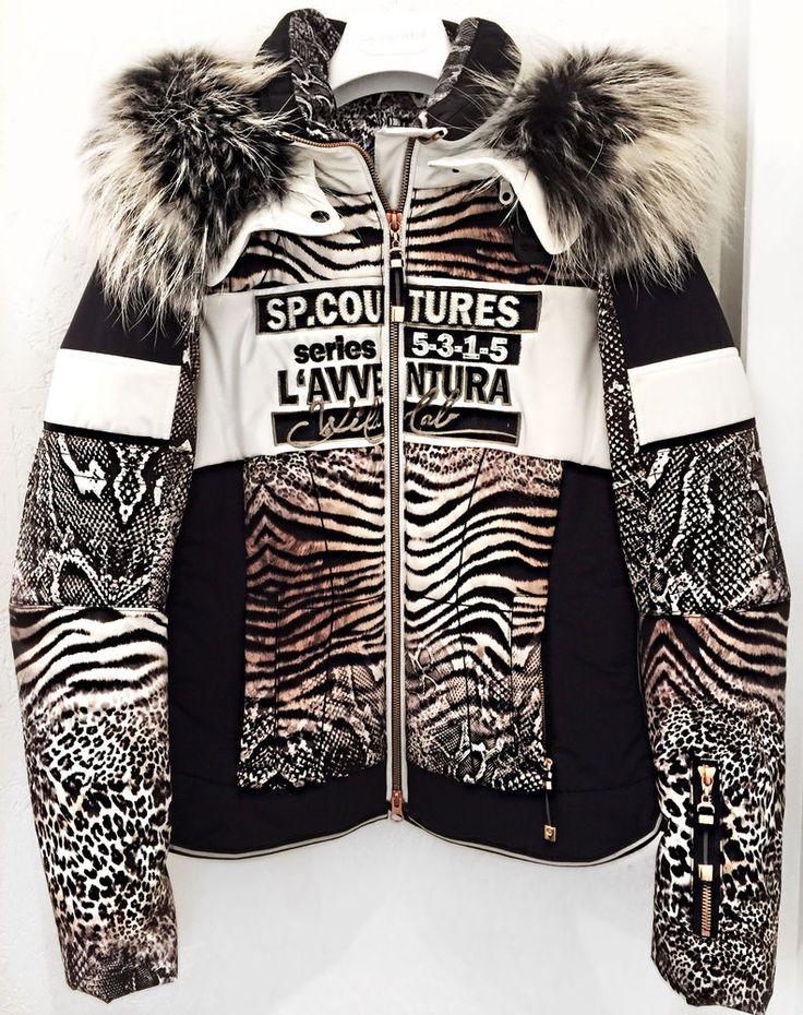 SPORTALM Winterjacke Jacke Skijacke Taiwo Echtpelz Echtfell Pelz Leo Zebra Print