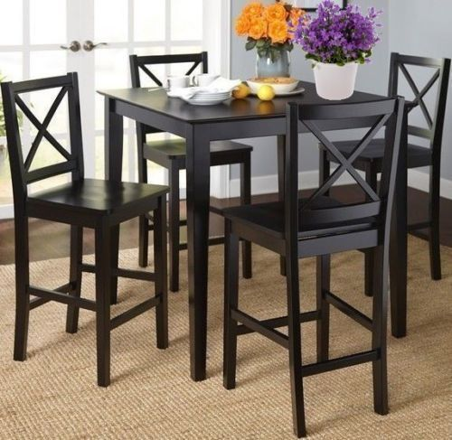 5-PC Black Dining Set Square Wood Counter Height Table Chairs Kitchen Furniture  #Mods #Contemporary