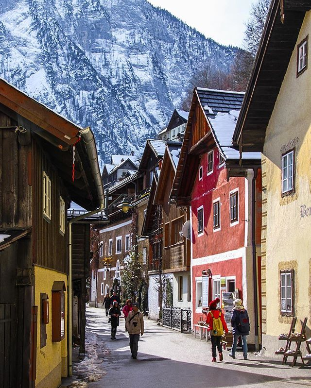 Street view of Hallstatt, Austria