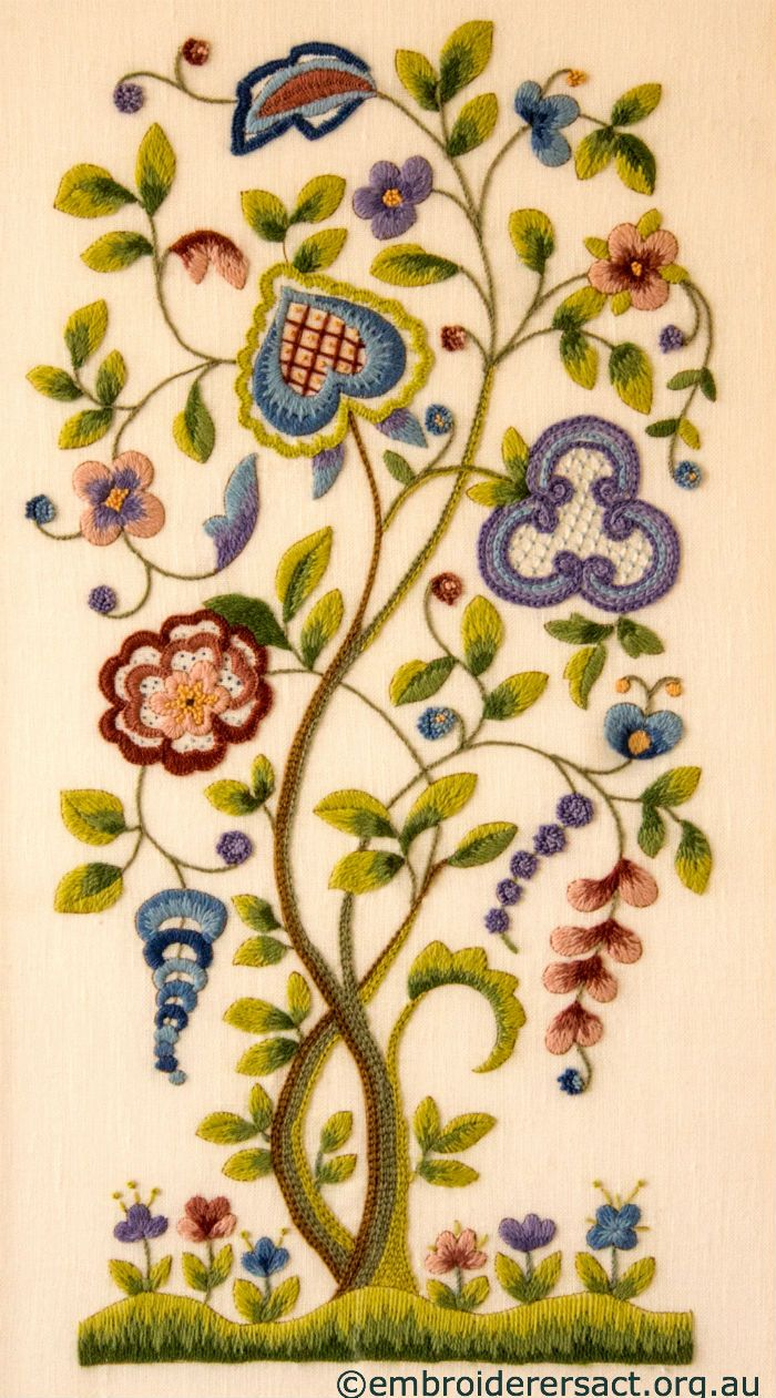 Jacobean-Crewel-Tree-with-Flowers-stitched-by-Barbara-Adams.jpg 700×1.261 pixels
