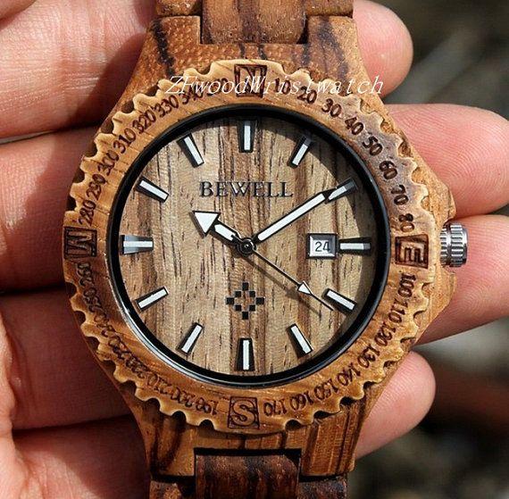 Zebra Mens Wood Health Watches Wooden Watch by ZfwoodWristwatch