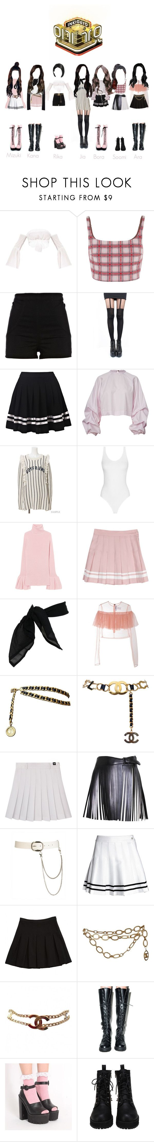 """Inkigayo // Hush"" by pretty-evil-girls ❤ liked on Polyvore featuring Prada, River Island, Pretty Polly, TC Fine Intimates, MSGM, Chanel, Alaïa, Wet Seal, Diane Von Furstenberg and Wild Rose"