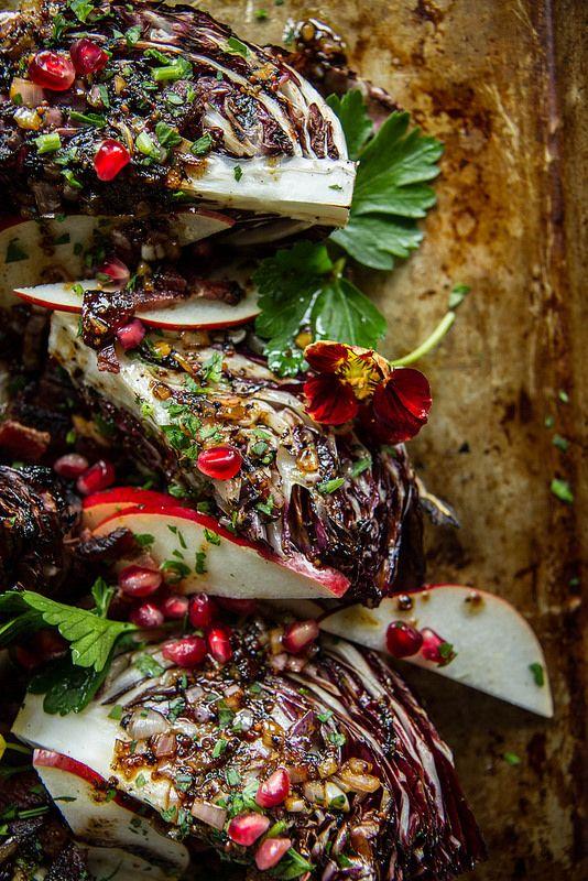 Grilled Raddicio and Pears with Hot Bacon Vinaigrette