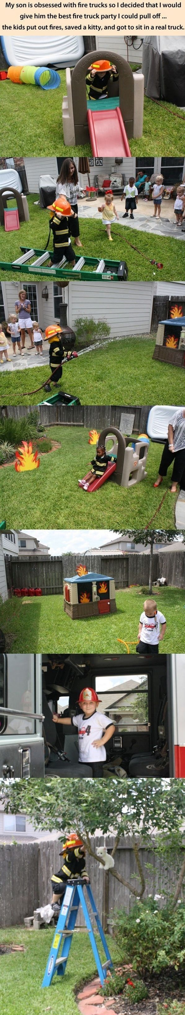 """Pinner before me said, """"Fun PARTY IDEA for BOYS!"""" Yes because there's no such thing as a female firefighter. BS!"""