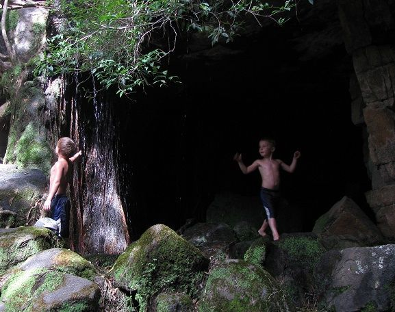 Waterfall Cave  My boys Brian and Michael having fun at the Mountain Sanctuary Park. Magaliesberg South Africa