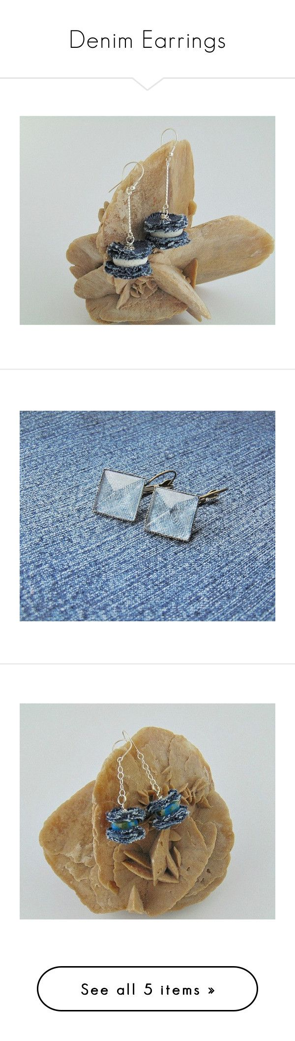 """""""Denim Earrings"""" by styledonna on Polyvore featuring jewelry, earrings, earrings jewelry, dangle earrings, denim jewelry, white earrings, coral jewellery, blue jewelry, denim earrings i blue earrings"""