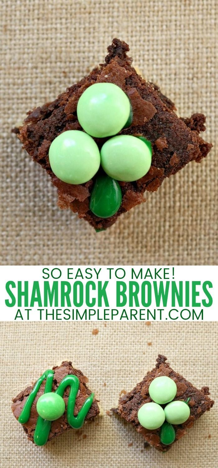 St. Patrick's Day Brownies - Food is a great way to celebrate St. Patrick's Day with your kids, especially desserts! Make these easy mint green chocolate brownies for kids! They can get in the kitchen with you to make these treats for St. Patty's Day! Did you know you can use M&Ms to turn ordinary brownie recipes into fun holiday brownies? #brownies