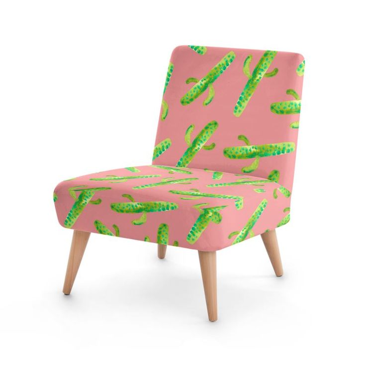 Cactus In Pink Occasional Chair #botanical #pattern #furniture #design #fashion #home #hometrends #chair #cacti #cactus