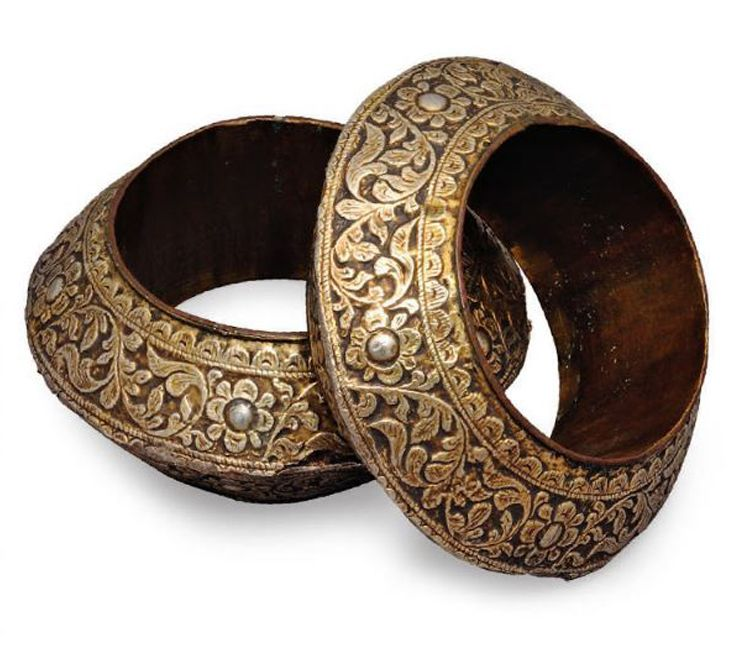 Indonesia | Pair of armbands with floral meander.  Palembang, South Sumatra.  Gilt copper alloy on wood || Ethnic Jewellery from Indonesia: Continuity and Evolution By Bruce W. Carpenter, page 120