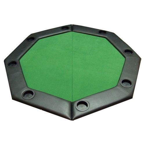 JP Commerce Padded Octagon Folding Poker Table Top with Cup Holders in Green