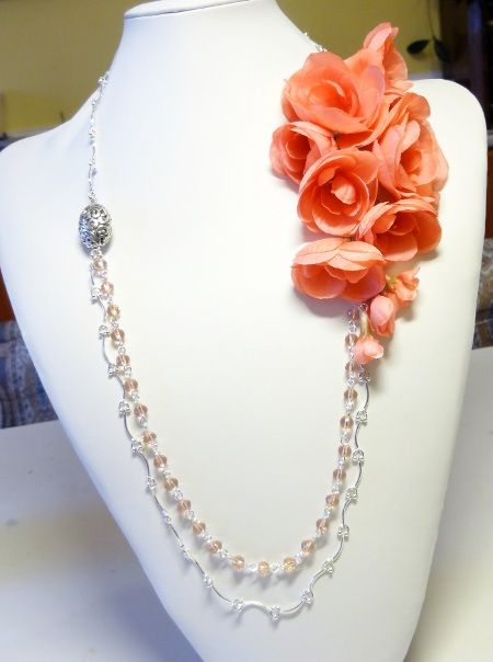 Silk flowers in necklace