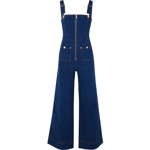 alice McCALL Quincy denim overalls (400 AUD) ❤ liked on Polyvore featuring jumpsuits, dark denim, alice mccall jumpsuit, stretch jumpsuit, blue overalls, stretch denim jumpsuit and blue denim jumpsuit
