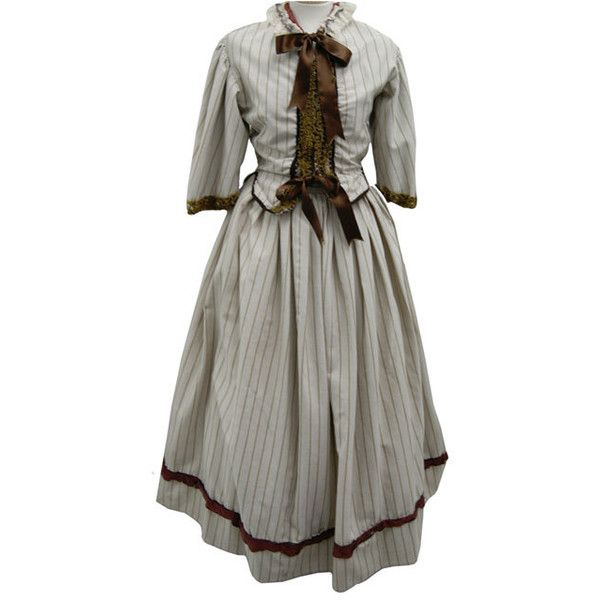 Victorian Ladies Cream and Brown Stripe Suit, Costume Hire ($72) ❤ liked on Polyvore featuring costumes, brown costume and victorian lady costume
