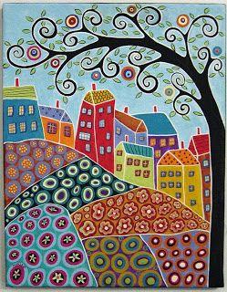 karla gerard art: 8 Houses, Flower Garden & A Tree Painting by Karla G
