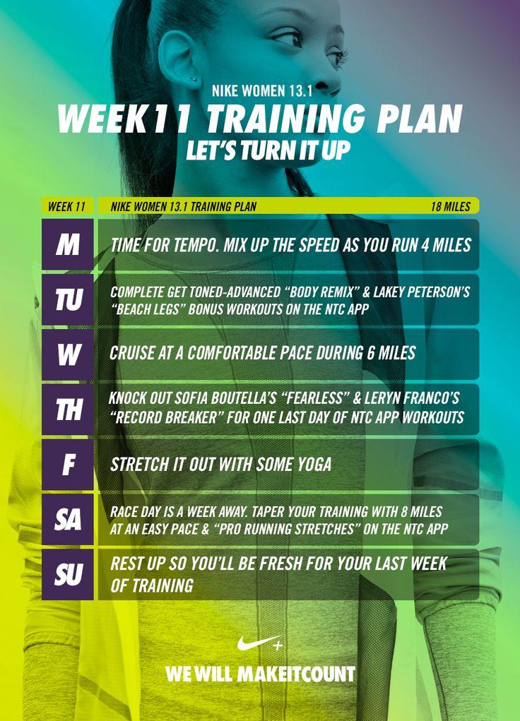 Nike - 12 week Training Plan to runa half marathon - Week 11